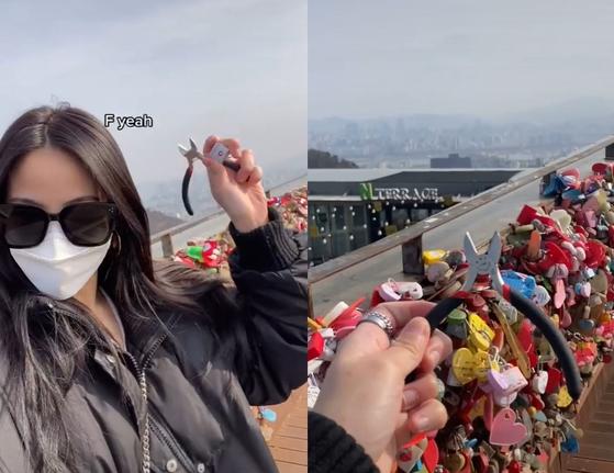 남산타워를 다시 방문한 틱톡커. 틱톡캡처=뉴스1