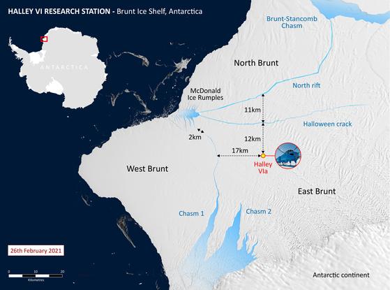 지난 2월 떨어져나간 남극의 브런트 빙하 인근의 지도. Reuters=연합뉴스