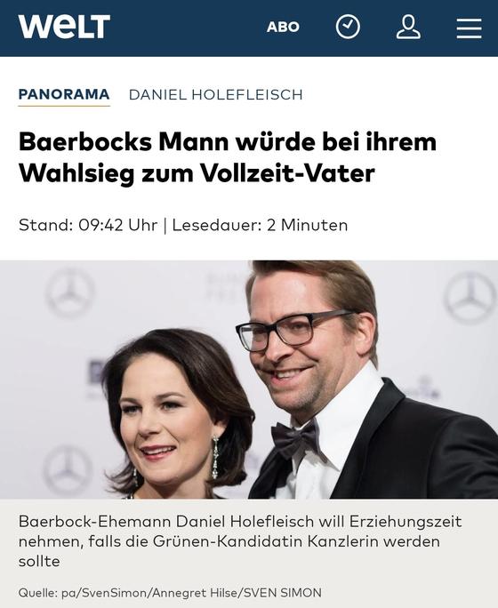독일 최연소 여성 총리를 노리는 베르보크(왼쪽) 녹색당 대표와 남편 홀레플라이슈. [벨트지 캡처]