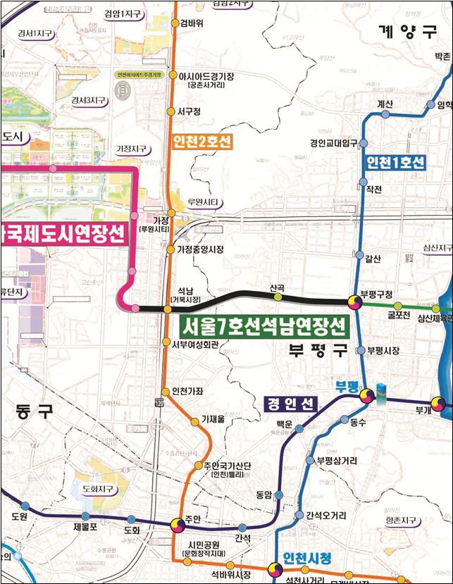서울 7호선 연장 노선도. [자료 국토교통부]