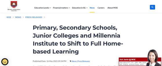 19일 싱가포르 교육부 홈페이지. 등교 수업을 중단하고 집에서 공부하도록(Home-based Learning) 했다.