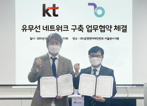 사진: ㈜금영엔터테인먼트와 KT는 '노래방 인터넷보급ㆍ디지털대전환' 사업 협력을 위한 업무협약(MOU)을 체결했다. 좌측 ㈜금영엔터테인먼트 대표이사 김진갑, 우측 KT부산법인고객담당 이재우 단장.