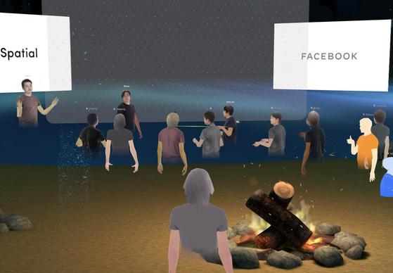 페이스북은 지난달 원격 협업 플랫폼인 '스페이셜'(Spatial)을 활용해 기자간담회를 열었다. [사진 페이스북코리아]