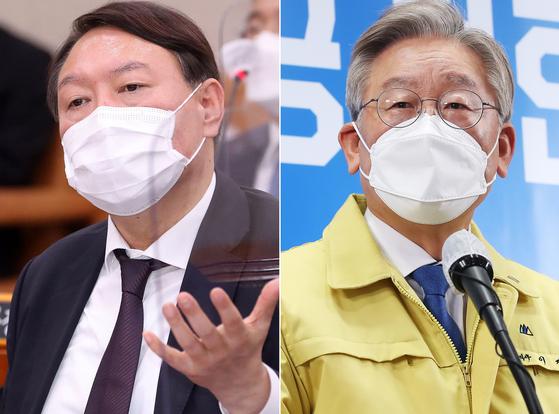 윤석열 전 검찰종장(왼쪽)과 이재명 경기도지사. 오종택 기자, 연합뉴스
