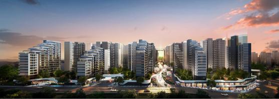 현대건설이 시공하는 전주 하가구역 재개발 아파트 투시도.