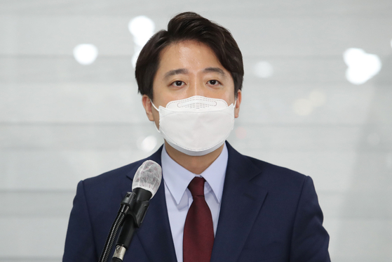 이준석 전 최고위원이 20일 오후 서울 여의도 국민의힘 당사에서 당대표 출마 선언을 하고 있다. 오종택 기자