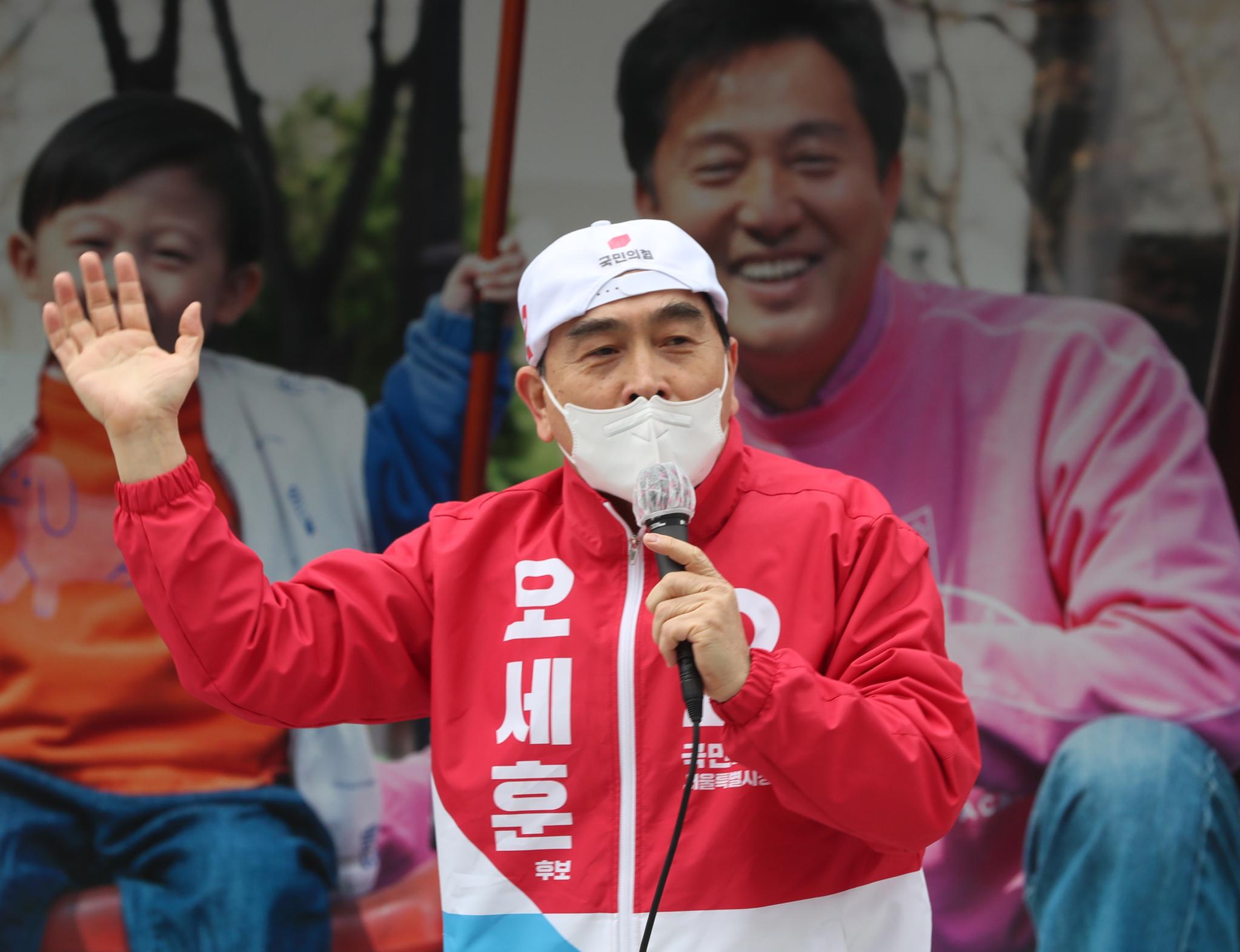 태영호 국민의힘 의원. 사진은 지난 3월 서울시장 보궐선거 운동에서 오세훈 당시 후보에 대한 지지를 호소하고 있는 태 의원의 모습. 오종택 기자