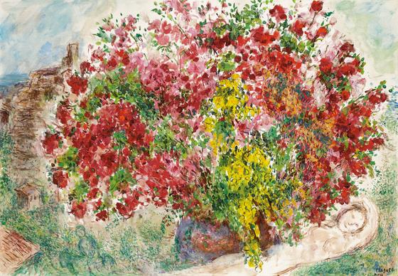 마르크 샤갈이 1973년에 그린 '생 폴 드 방스의 정원'.[사진 케이옥션]