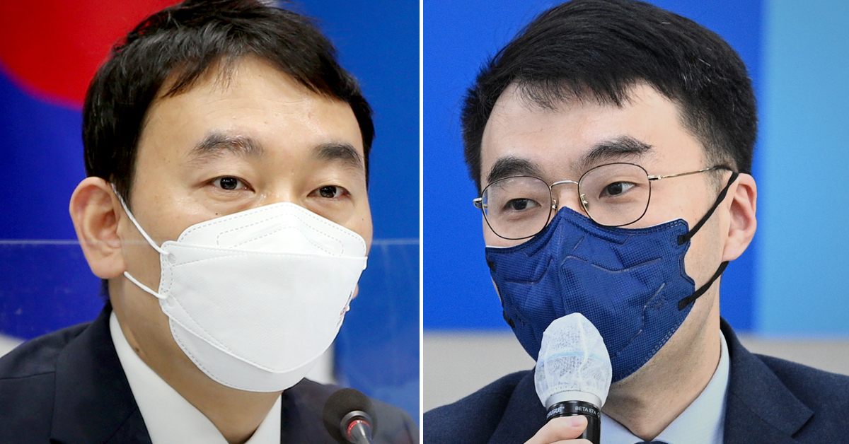 민주당 김용민 최고위원(왼쪽)과 김남국 더불어민주당 의원. 연합뉴스·뉴스1