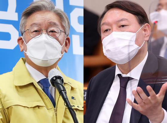 이재명 경기도지사(왼쪽)과 윤석열 전 검찰종장. 오종택 기자, 연합뉴스