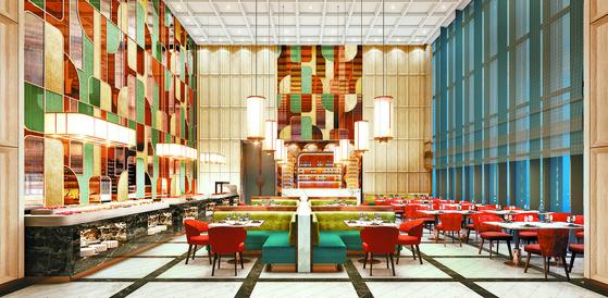 조선 팰리스는 최상의 고메 컬렉션 5곳을 선별·운영한다. 다채로운 식재료로 수준 높은 세계 요리를 선보이는 고품격 뷔페 레스토랑 '콘스탄스'. [사진 조선호텔앤리조트]