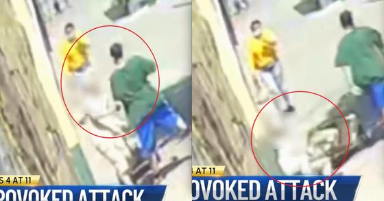지난 26일(현지시간) 미국 뉴욕시 퀸즈의 한 상점 인근 거리에서 길을 걷던 한 남성이 마주오던 70대 노인을 팔꿈치로 가격한 뒤(왼쪽) 유유히 사라지고있다. [nbc뉴스 방송 캡처]