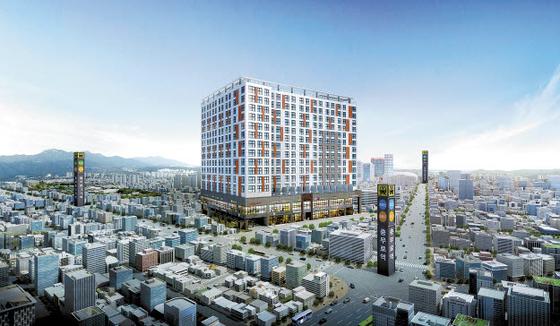 2020년 시공능력평가 21위 동부건설이 서울 도심 쿼드러플 역세권에 공급하는 '더 솔라고 세운' 투시도.