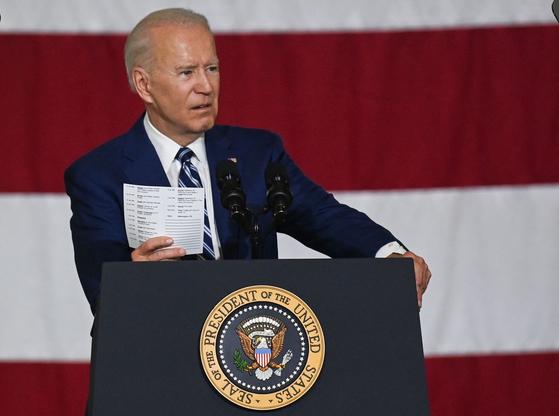 조 바이든 미국 행정부가 28일(현지시간) 대규모 세제 개편 계획을 통해 향후 10년간 3조 6000억 달러(약 4014조원)에 달하는 세수를 확보하겠다고 밝혔다. [AFP=연합뉴스]