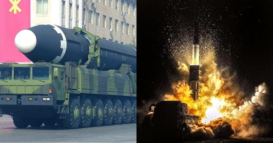 북한 대륙간탄도미사일(ICBM)급 '화성-15'형(왼쪽)과 한국군 현무-2A 탄도미사일. 사진 연합뉴스, 국방일보.
