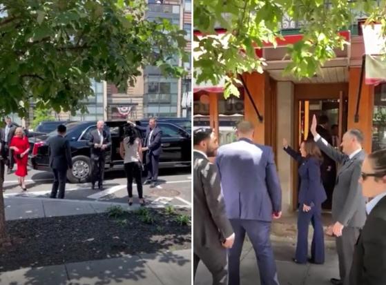 바이든 대통령 부부(오른쪽)와 해리스 부통령 부부가 31일 워싱턴DC에 있는 유명 프랑스 식당을 방문한 모습. [트위터 캡처]