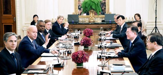 지난달 21일 열린 한 ㆍ미 정상회담에서 조 바이든 미국 대통령이 발언하고 있다. [워싱턴=뉴시스]