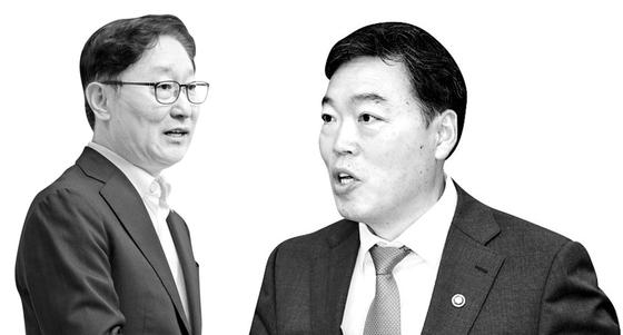문재인 대통령이 5월 31일 김오수(오른쪽) 검찰총장 임명안을 재가했다. 이에 따라 박범계 법무부 장관-김오수 검찰총장 체제에서 살아 있는 권력 비리 수사가 제대로 이뤄질지 의구심이 커지고 있다. [뉴스1]