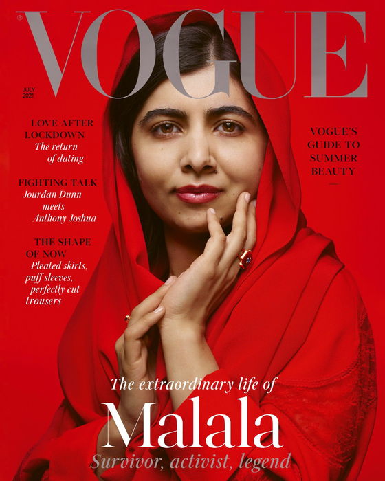 최연소 노벨수상자인 파키스탄 출신 말랄라 유사프자이가 보그 영국판 7월 표지모델로 선정됐다. [보그 영국판, 유사프자이 SNS]