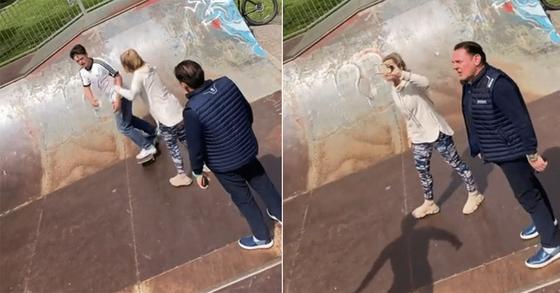 영국 사우스웨일스 멈블스 지역 주민인 베일리 부부(오른쪽)가 스케이트보드를 타는 청소년들에게 언성을 높이는 모습. [유튜브 캡처]