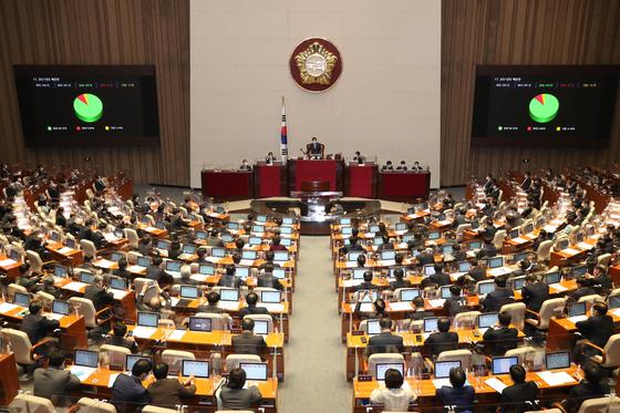 지난해 12월 2일 오후 국회에서 열린 제382회 국회 본회의에서 2021년도 예산안이 가결되고 있다. 뉴스1