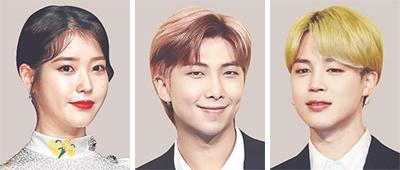 아이유, RM, 지민(왼쪽부터)