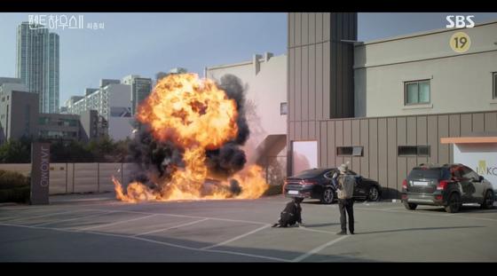 '펜트하우스'에서 로건 리의 차량이 폭발하는 장면 [사진 SBS]