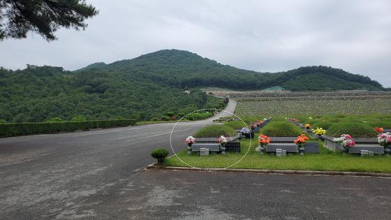 세종시 공원묘원에 있는 윤석열 전 검찰총장 조상묘. 뒤편 보이는 산이 장군봉이다. 사진 백재권 교수