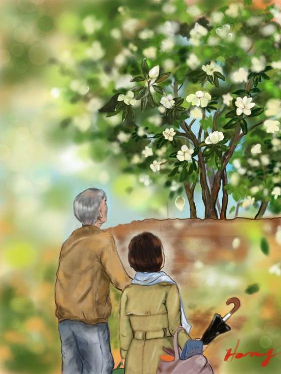 치매노인과 가족의 시간을 다룬 소설 '황홀한 사람'의 장면. 아이패드, 프로크리에이트. [그림 홍미옥]