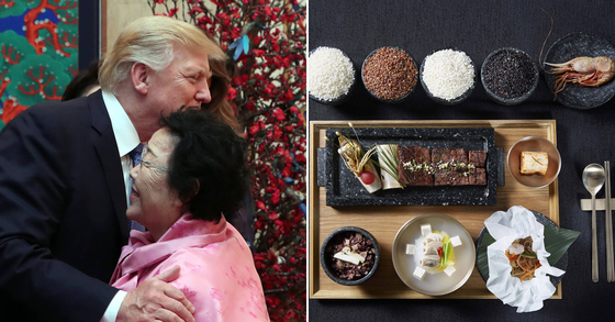 도널드 트럼프 전 미국 대통령과 이용수 할머니(왼쪽), 2017년 청와대 만찬에 포함된 독도새우 요리. [연합뉴스]