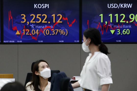 7일 오후 서울 중구 하나은행 명동점 딜링룸 전광판에 코스피 지수가 3252.12를 나타내고 있다. 이는 종가 기준 지난달 10일의 3249.30을 뛰어넘는 사상 최고치다. 뉴스1