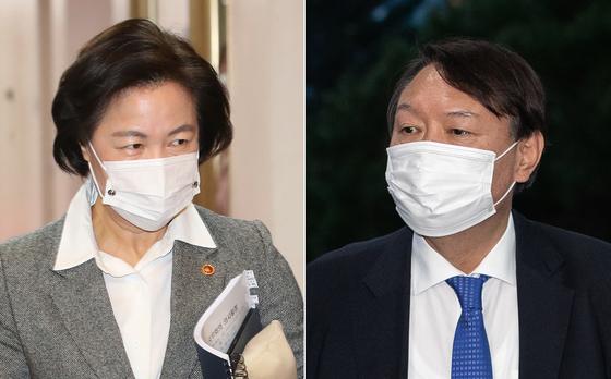 추미애 전 법무부장관(왼쪽)과 윤석열 전 검찰총장. 뉴스1