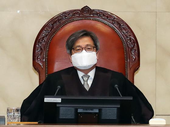 김명수 대법원장이 대법원 대법정에서 전원합의체 판결을 주재하고 있다. 연합뉴스