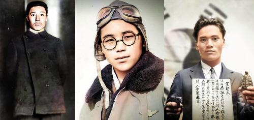 좌측부터 안중근 의사, 권기옥 여사, 윤봉길 의사 복원 사진(제공: 자안그룹)
