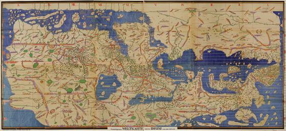 중세 아랍 지리학자 이드리시가 만든 '이드리시 세계지도'(1154). 왼쪽 상단에 신라로 추정되는 나라가 표기돼 있다. [사진 미국 의회도서관]