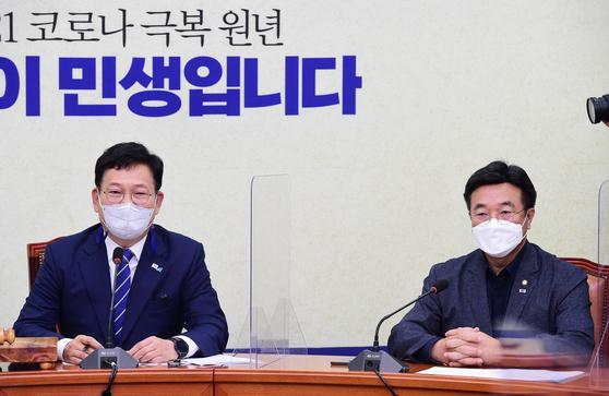 송영길 더불어민주당 대표와 윤호중 원내대표. 오종택 기자