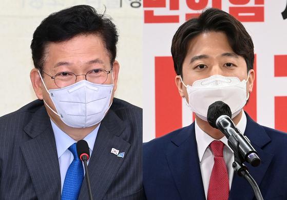 송영길 더불어민주당 대표(왼쪽)과 이준석 국민의힘 대표. 오종택 기자, 연합뉴스