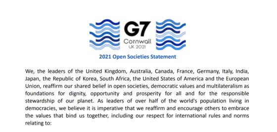 13일(현지시간) 주요 7개국(G7) 정상회의 확대회의 두 번째 회의인 '열린 사회와 경제' 세션에서 채택된 '열린 사회 성명'(Open Societies Statement). G7 정상회의 홈페이지 캡쳐.