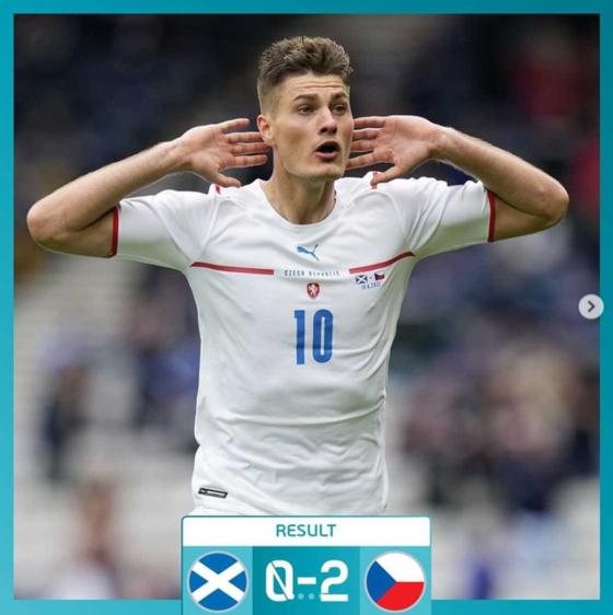 체코 공격수 쉬크가 스코틀랜드전에서 초장거리 골을 넣었다. [사진 유로 2020 인스타그램]