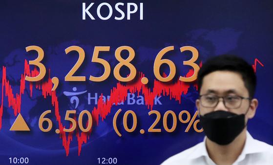 코스피가 이틀 연속 사상 최고치를 경신한 15일 서울 중구 하나은행 딜링룸 전광판. 코스피 지수가 전 거래일 대비 6.5포인트(0.2%) 오른 3258.63을 나타내고 있다. 뉴스1