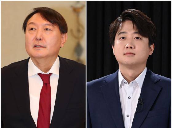 윤석열(왼쪽) 전 검찰총장과 이준석 국민의힘 대표. 중앙포토