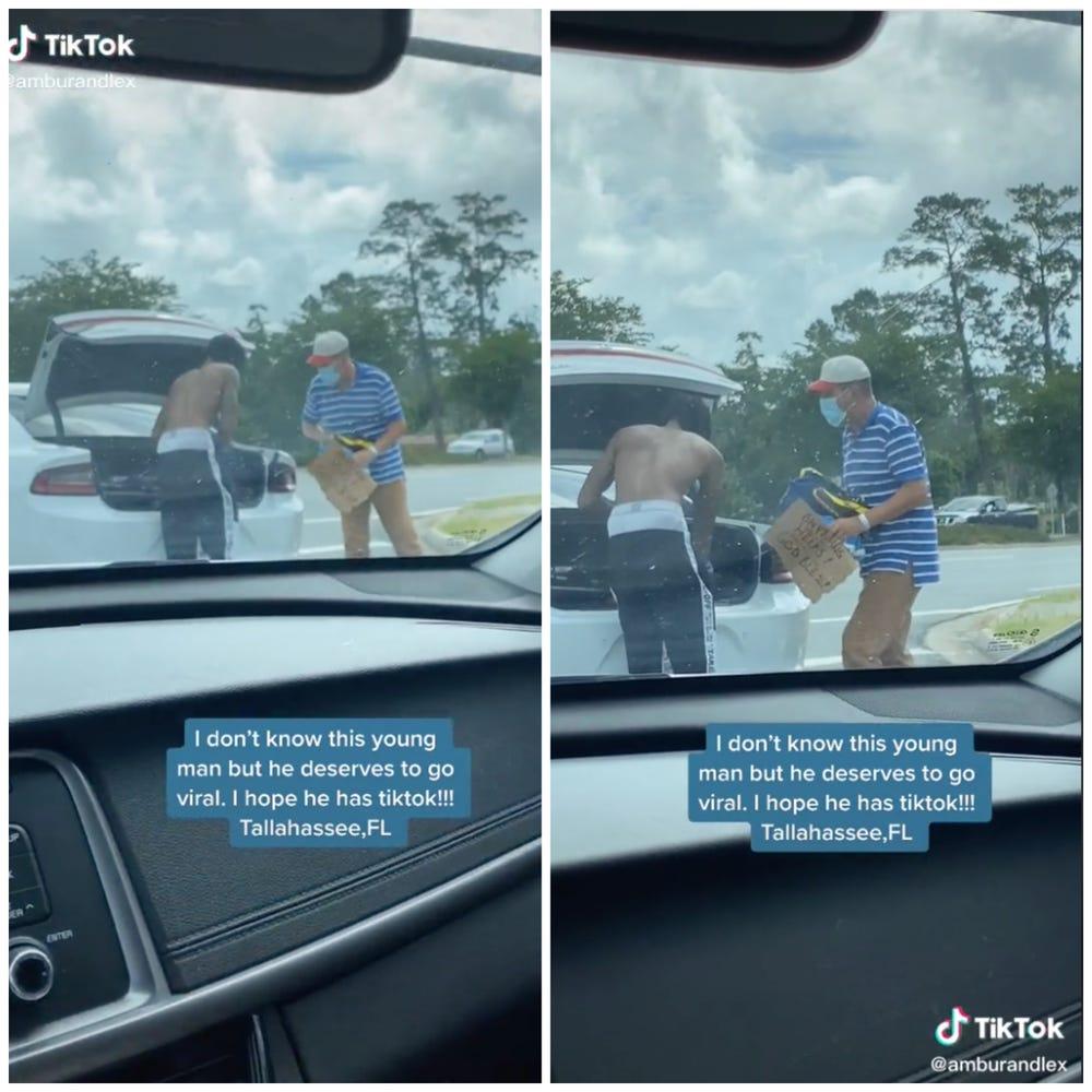 틱톡 유저 @amburandlex가 한 남성이 노숙자에게 옷을 주는 모습을 촬영해 공개했다. 사진 틱톡