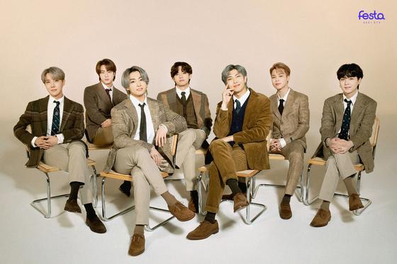 13일 데뷔 8주년을 맞은 방탄소년단이 공개한 2021 페스타 가족사진. [사진 빅히트 뮤직]