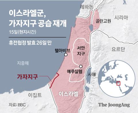 이스라엘군, 가자지구 공습 재개. 그래픽=신재민 기자 shin.jaemin@joongang.co.kr