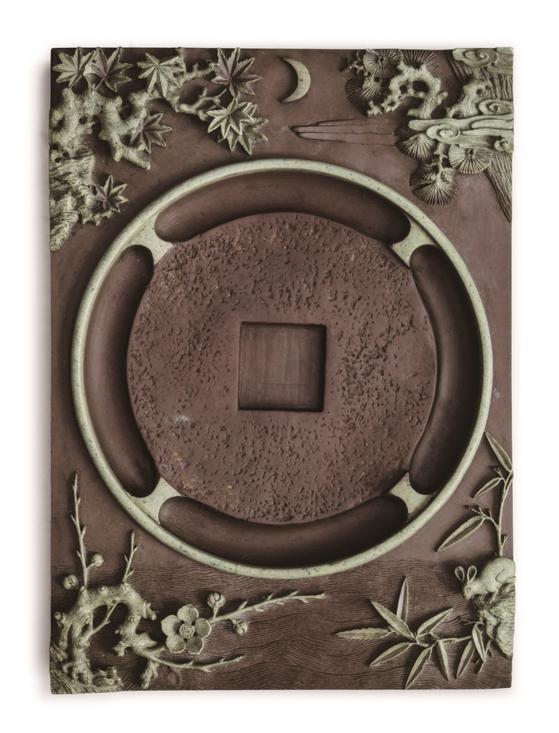 위안화초석 월하매죽문연, 조선 15~16세기. [사진 가나문화재단]