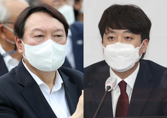 윤석열 전 검찰총장(왼쪽)과 이준석 국민의힘 대표. 연합뉴스·뉴스1