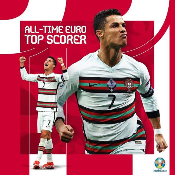 호날두가 유로 역대 최다 골 신기록을 작성했다. [사진 유로 2020 인스타그램]