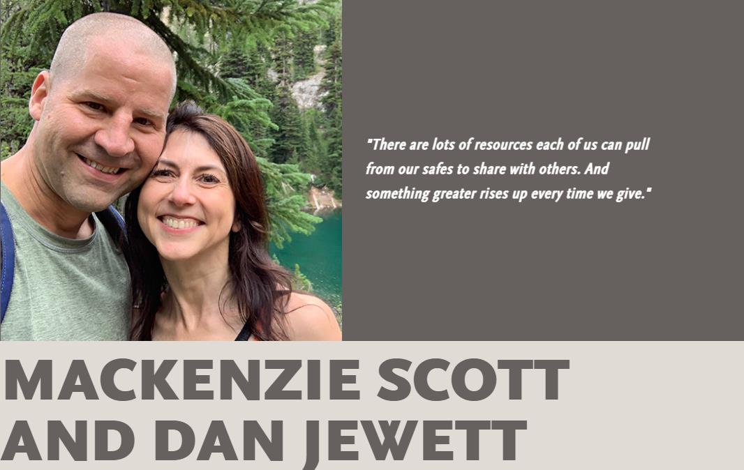 매켄지 스콧의 남편 댄 주엣은 최근 자선단체 '기빙 플레지'(Giving Pledge)에 재산을 다른 사람을 위해 쓰기로 한 스콧의 약속에 동참한다는 뜻을 밝혔다. 사진 기빙플레지 웹사이트