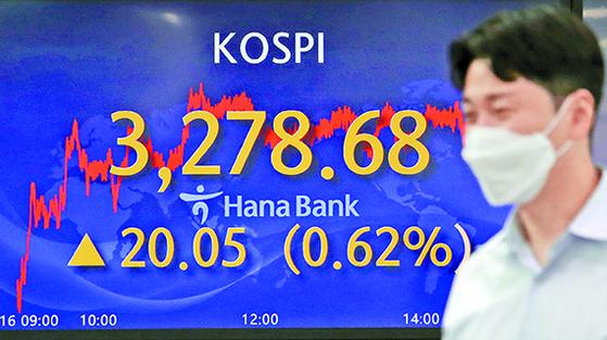 16일 서울 중구 하나은행 본점 딜링룸 전광판에 코스피 지수가 사상 최고치인 3278.74를 나타내고 있다. 장중 한때 3281.96까지 뛰기도 했다. [뉴시스]