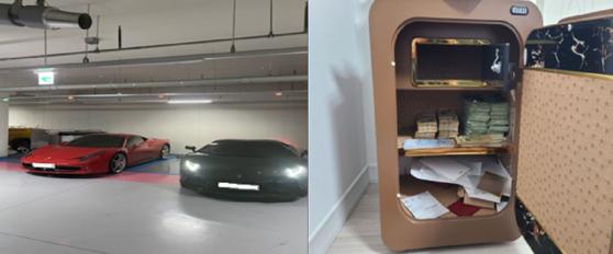 피의자가 운행한 차량(왼쪽)과 안방 금고에 있던 현금들. 사진 경기남부경찰청